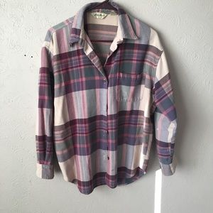 eddie bauer purple plaid button up